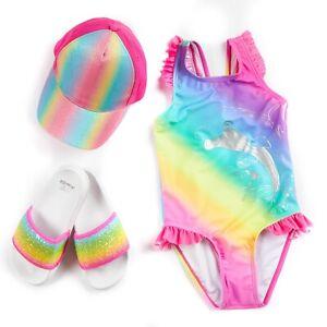 Infant Girls Rainbow Glitter Summer Swimsuit Sun Cap Set age 2-6 + Pool Sliders