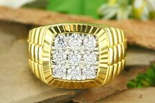 14K Yellow Gold Over Round Diamond Men's Engagement Wedding Pinky Ring Band 2.CT