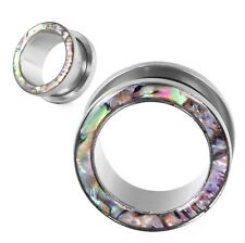 PAIR-Colorful Shell Stainless Steel-SCREW HOLLOW FLESH TUNNELS PLUGS-EAR GAUGES