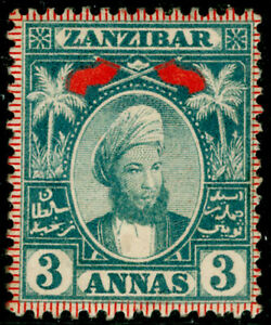 Zanzibar QV SG163, 3a bluish grey, LH MINT. Cat £22.