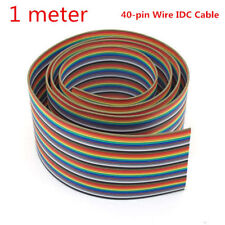 1M 3.3ft 10 Colors 40 Way 40 Pin Flat Color Rainbow Ribbon IDC Cable ASS