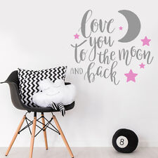 Love You to the Moon and Back Quote Baby Girl Bedroom Wall Sticker Wall Decal