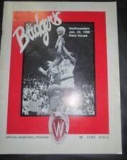 1988 UNIVERSITY OF WISCONSIN BADGERS VS NORTHWESTERN BASKETBALL PROGRAM