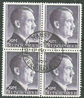 Stamp Germany Mi 800 Block Sc 525 1941 WWII 3rd Reich Hitler CTO Used