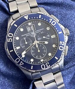 Tag Heuer Aquaracer CAN1011 44mm Mens Blue Quartz Chronograph Date Watch A528