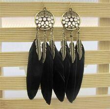 Festival Party Boutique Dream Catcher Uk Black Gold Leaf Feather Earrings Boho
