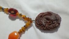 VINTGE CARNELIAN NATURAL STONE NECKLACE W, CARVED DRAGON PENDANT