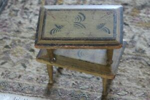 Pair of 19th Century Antique Mustard Painted Stenciled Footstools Original Paint