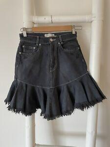 Zimmermann Black Faded Denim High Waist Frayed Distressed Mini Skirt 0