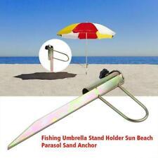 Sun Umbrella Holder Beach Patio Parasol Ground Iron Spike Stand H4G8