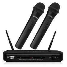 NEW Pyle PDWM2130 FM Wireless Dual Microphone System W/ 2 Mics & Dual Frequency