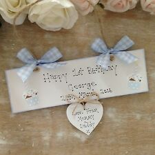 Personalised 1st Birthday Plaque  Handmade Wooden Cupcake Boy Girl Sign Present