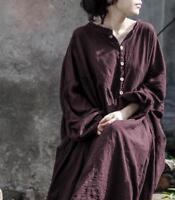 Cotton Linen Flax Long Maxi Loose Dress Buttons Tops Womens Lantern Sleeves Chic