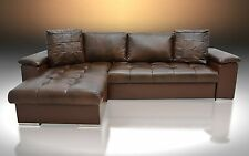 BROWN REAL LEATHER  CORNER  SOFA BED ''MIKE'' MODERN QUILTING, COLOURS! BARGAIN