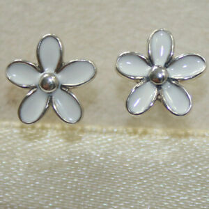 New Authentic Pandora Earring Studs Darling Daisie 290538EN12 W Tag & Suede Pouc