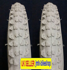 Pair of 14 inch white bicycle tyres and tubes 14 x 2.125