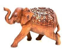 Elephant Statue Hand Carved With Tusks Solid Wood Bali Indonesia By Zenda Import