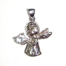 BABY GUARDIAN ANGEL Pendant Charm w/ CZ Stone Heart .925 STERLING SILVER