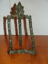 Vintage Solid Brass Ornate Wire Metal Plate Picture Book Art Holder Stand Shelf
