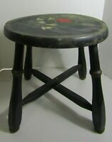 """ANTIQUE FOLK ART HAND PAINTED ROUND WOOD STOOL TOLEWARE 12"""" FARMHOUSE CHIC"""