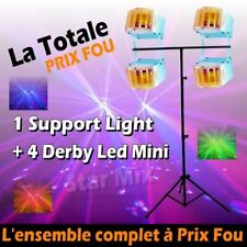 PACK JEUX DE LUMIERE comprenant 1 PORTIQUE DJ + 4 MINI DERBY PA DJ LED SONO CLUB