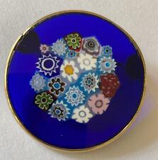 Vintage Brooch Millefiore Italian Art Glass Murano Blue Gold Filled Round