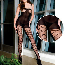 Black Sheer Bust Criss Cross Legs Diamond Mesh Crotchless Pantyhose Bodystocking