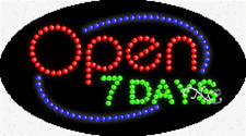 """New """"Open 7 Days"""" 27x15 Oval Solid/Animated Led Sign w/Custom Options 24058"""