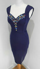 Lipsy purple jewelled neckline fitted body con wiggle dress UK 8 VGC party