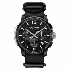 New with tag Coach Men BLEECKER Black Chronograph Strap Watch 14602021 $295