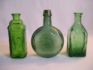 """Lot of 3 Vintage Miniature 3"""" Wheaton Style Green Glass Bottles Stamped Taiwan"""