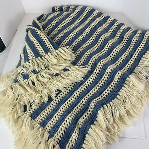 Vintage Knitted Afghan/Throw/Blanket Blue/White With Fringe