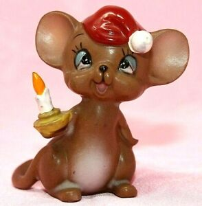 "VINTAGE Josef Originals JAPAN Sleepy Mouse with Nightcap and Candle, 2 1/2"" EPOC"