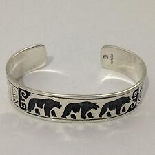 Sterling Silver Plain Handmade 3 Bear Pyramid Engraved Cuff Bracelet
