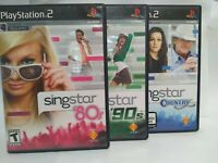 LOT Of 3 Singstar PlayStation 2 Games PS2 80's 90's Country Singing Karaoke