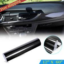 "12x60"" 5D Car Black Sticker Carbon Fiber Vinyl Ultra Shiny Gloss Glossy Wrap DIY"