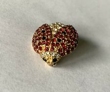 "Beautiful MONET LADYBUG Rhinestone Figural PIN/Brooch-Red-White-Black-3/4"" Bug"