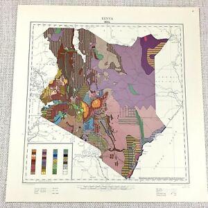 1961 Vintage Map of Kenya Africa Geology Soil Pedology Geological Geography