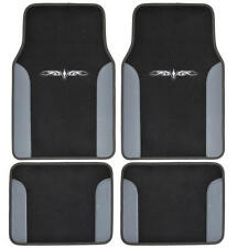 4 Piece Tattoo Design Floor Mats for Car SUV 2 Tone Gray Black Color