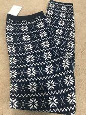 Junior Sweater Legging Navy Blue Snowflake Medium M Winter Warm