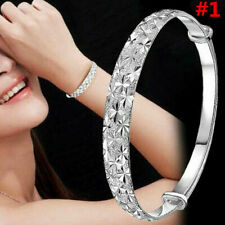 Women Jewelry Chain Bracelet 925 Sterling Solid Silver Crystal Cuff Bangle Gift