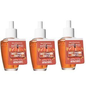 3-Pack Bath & Body Works SWEET CINNAMON PUMPKIN Fragrance Wallflowers Refills