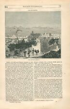 Panorama du Port de l'Île de Rhodes Dodécanèse mer Méditerranée GRAVURE 1844
