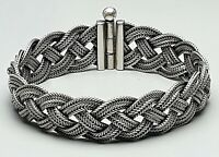 Massives 3-strängig geflochtetes 800 Silber Armband Art Deco 30er Jahre /A880
