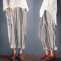 Women High Waist Vintage Striped Long Trousers Pockets Loose Cotton Harem Pants