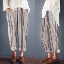Women High Waist Vintage Striped Long Trousers Pockets Loose Cotton Harem Pant P