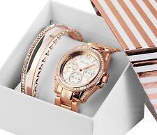Excellanc Damenuhr  Rosegold & Silber Zirkon mit 4 Armbänder Schmuckset Geschenk