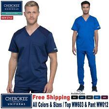 Cherokee Scrubs Set Revolución para hombre cuello en V Top Pantalón Deportivo Recto WW603/WW012