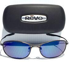 NEW* REVO TRANSMIT w POLARIZED Blue Lens PEWTER Wire Sunglass RE 9014-03