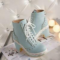 Womens Cute Lolita Lace Up Round Toe Chunky Heels Chic Cosplay Ankle Boots Shoes